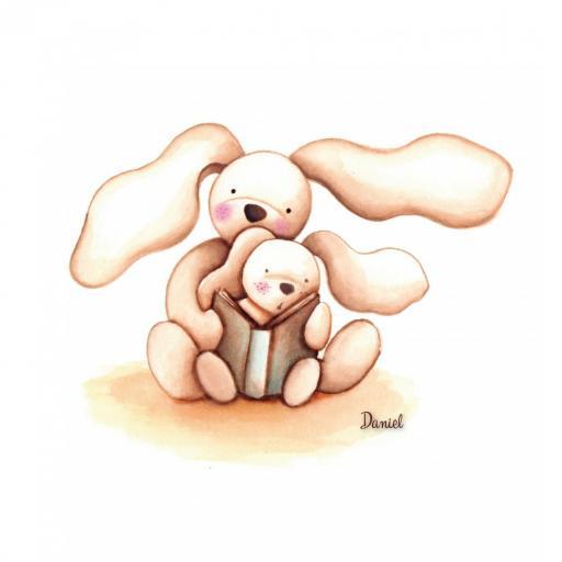 VINILO INFANTIL: Conejitos leyendo juntos, con libro y estrellas [2]