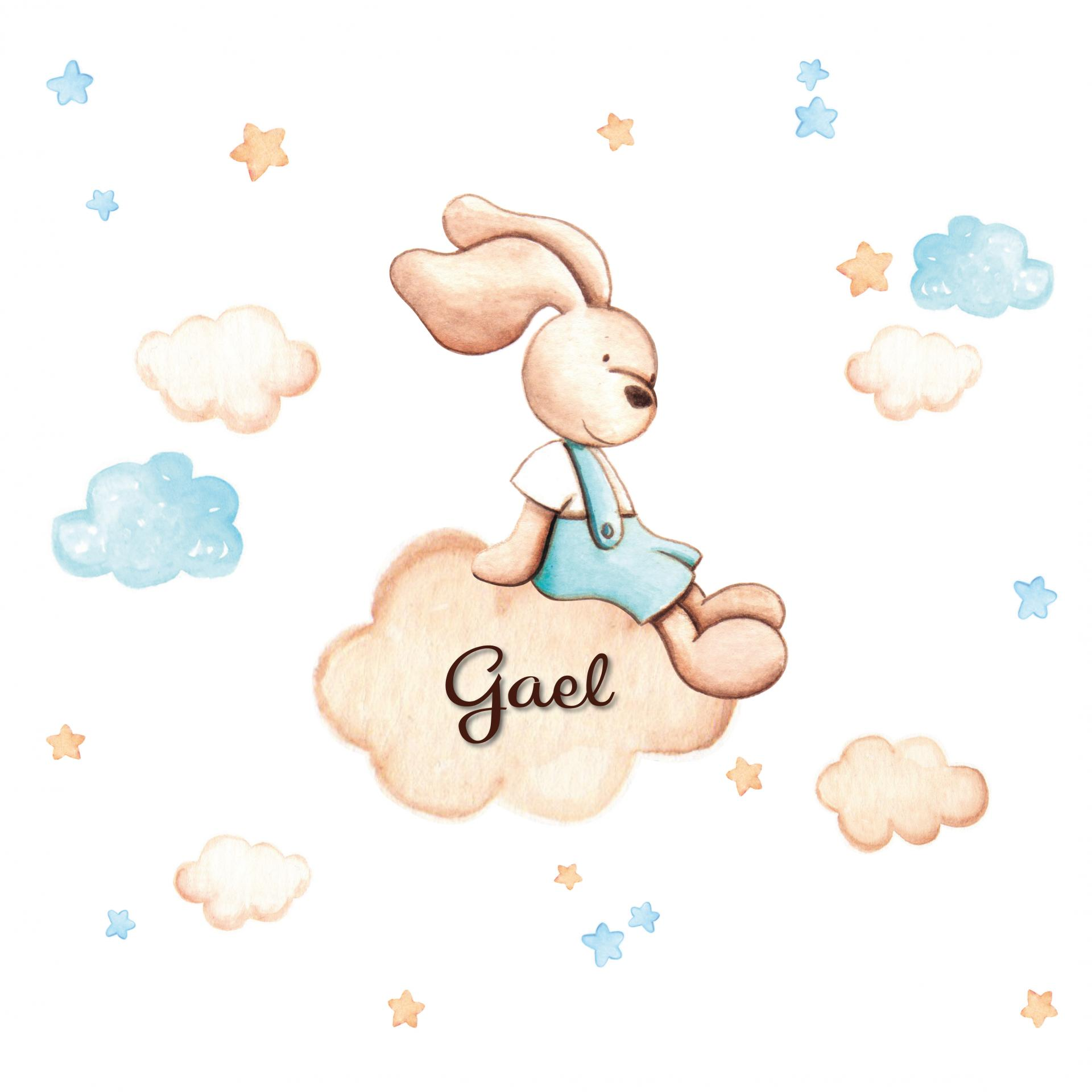 VINILO INFANTIL: Conejito sentado en nube