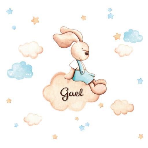 VINILO INFANTIL: Conejito sentado en nube [0]