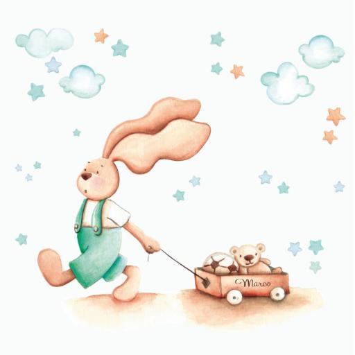 VINILO INFANTIL: Conejito con carro de juguetes en tonos verdes [1]