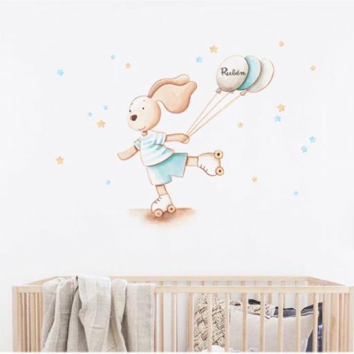 VINILO INFANTIL: Conejito con patines y globos [1]