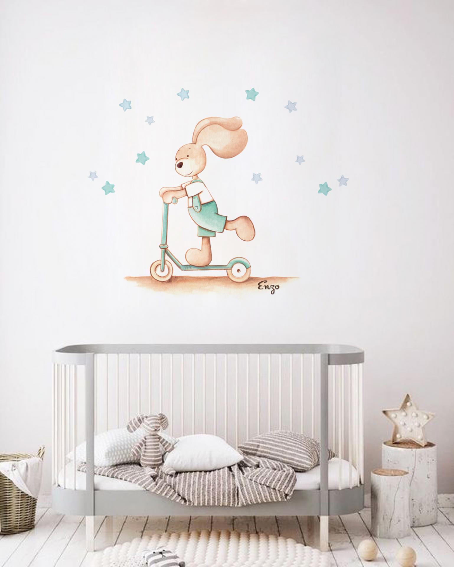 VINILO INFANTIL: Conejito con patín