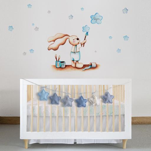 VINILO INFANTIL: Conejito pintando [1]
