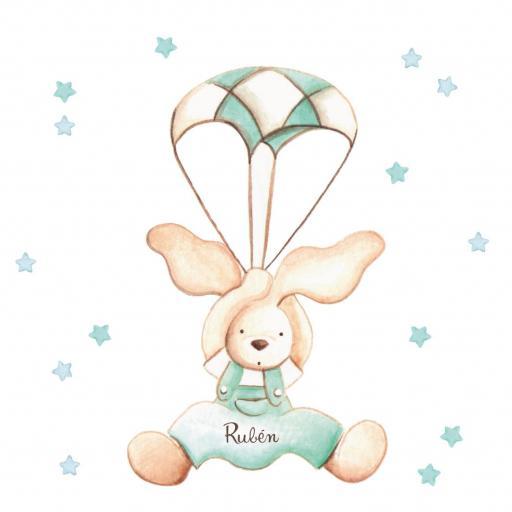 VINILO INFANTIL: Conejo con paracaídas [2]