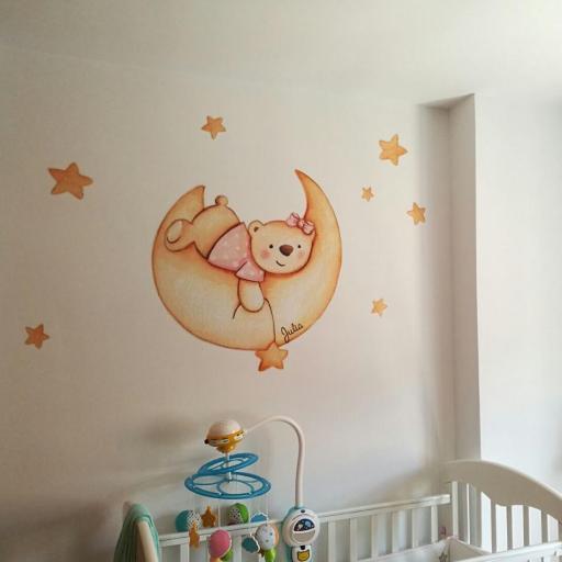 VINILO INFANTIL: Osita en luna y estrellas [0]