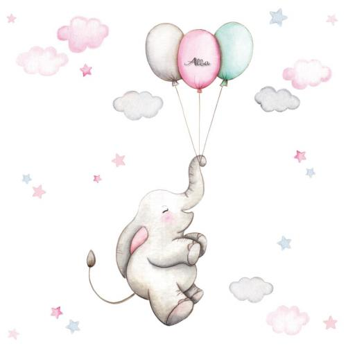 VINILO INFANTIL: Elefantita con globos [2]
