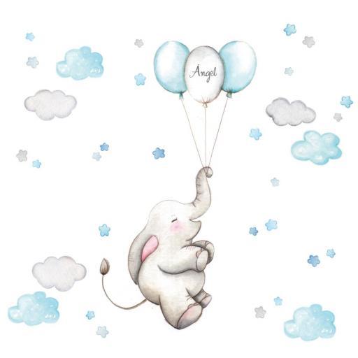 VINILO INFANTIL: Elefante con globos azules [1]