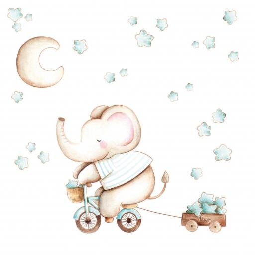 VINILO INFANTIL: Elefante en bici [1]