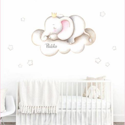VINILO INFANTIL: Elefante en nube [3]