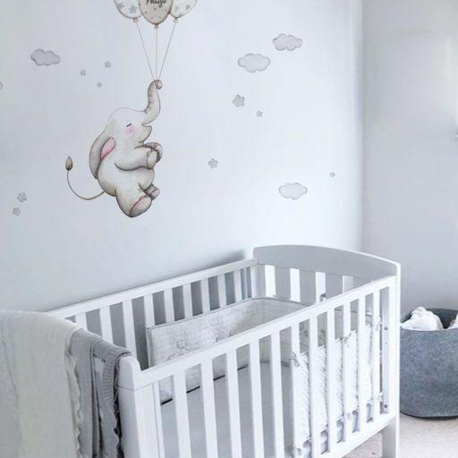 VINILO INFANTIL: Elefante con globos grises [1]