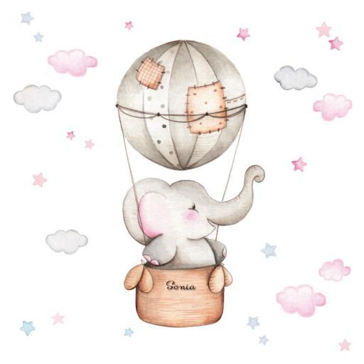 VINILO INFANTIL: Elefante en globo para niña [2]