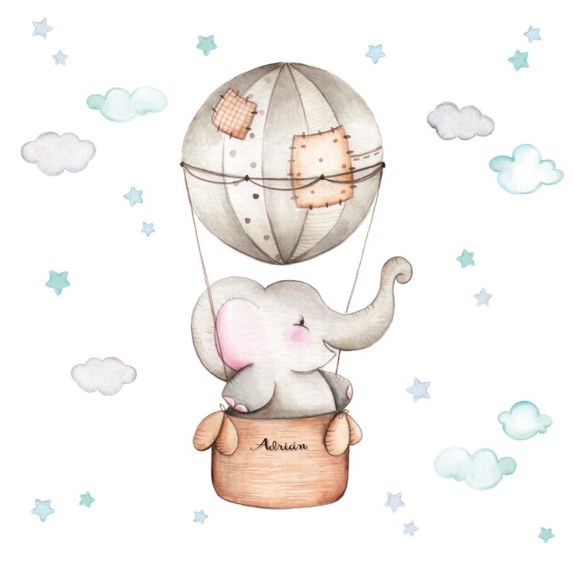VINILO INFANTIL: Elefante en globo para niño