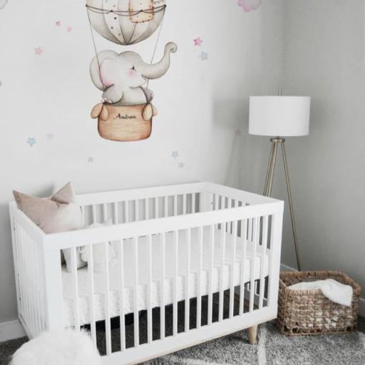 VINILO INFANTIL: Elefante en globo para niña [1]
