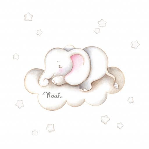 VINILO INFANTIL: Elefante en nube [2]