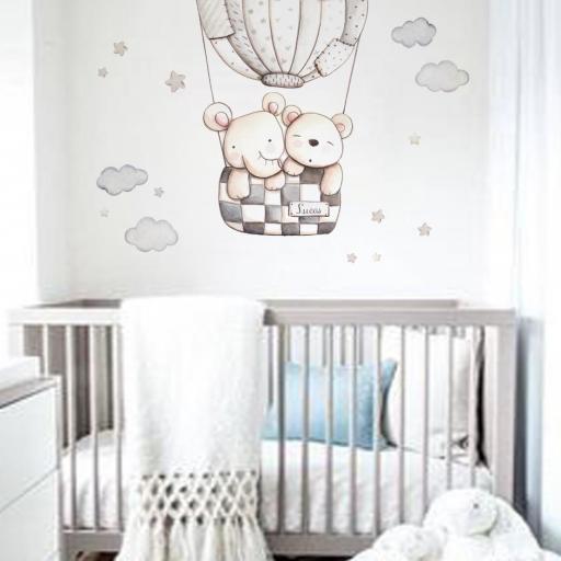 VINILO INFANTIL: Elefante y Osito en globo gris [3]