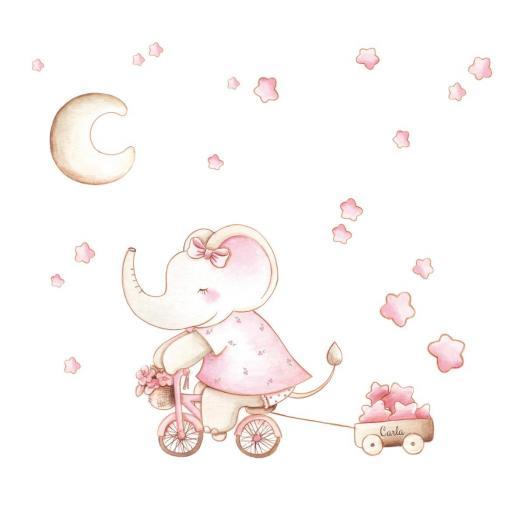 VINILO INFANTIL: Elefantita en bici [1]