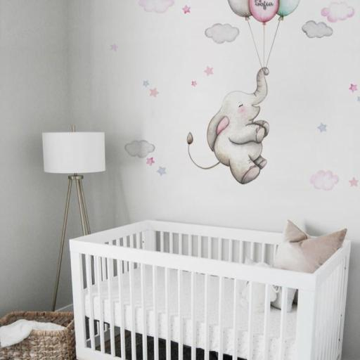 VINILO INFANTIL: Elefantita con globos [1]