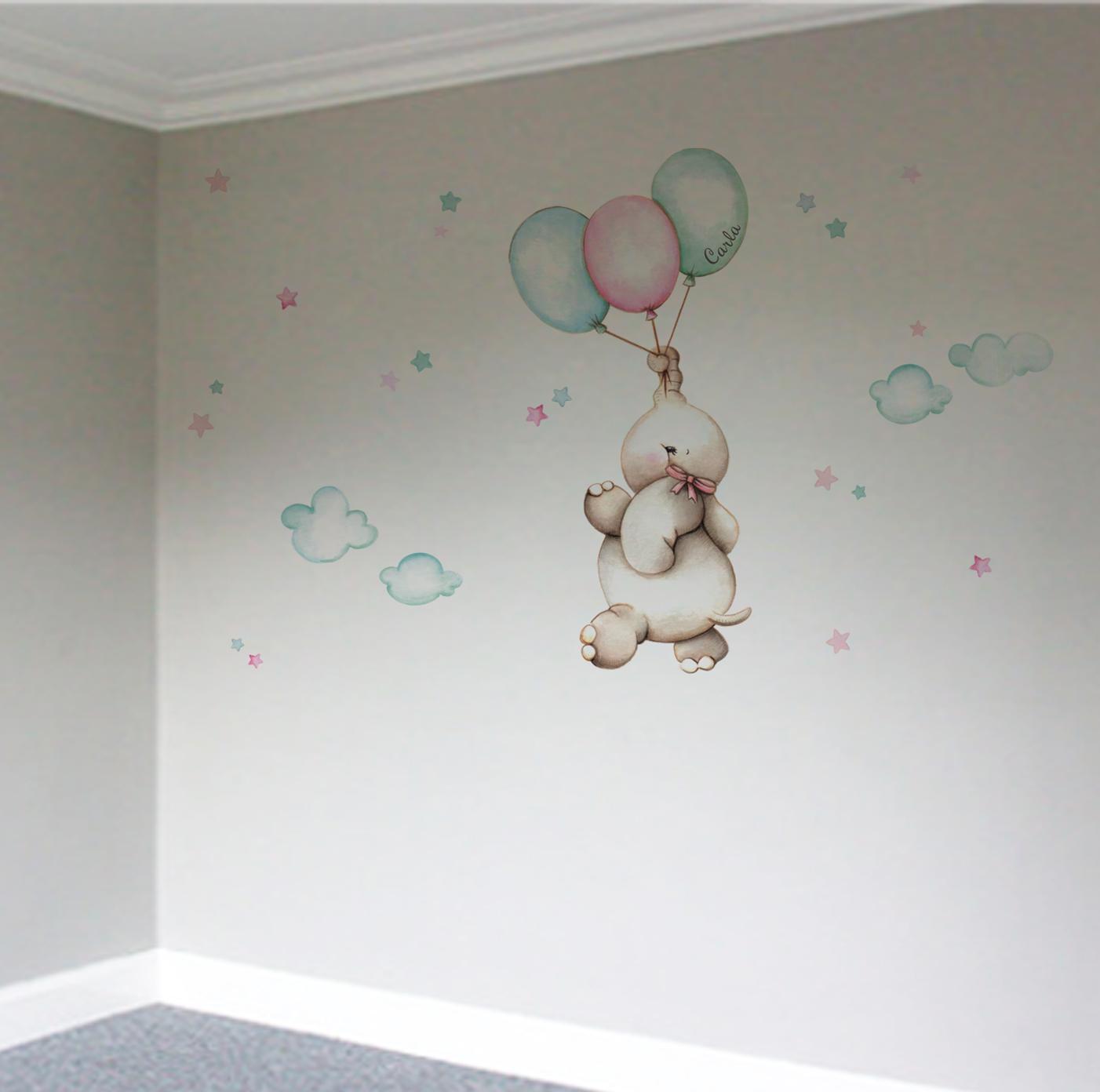 VINILO INFANTIL: Elefantita con globos