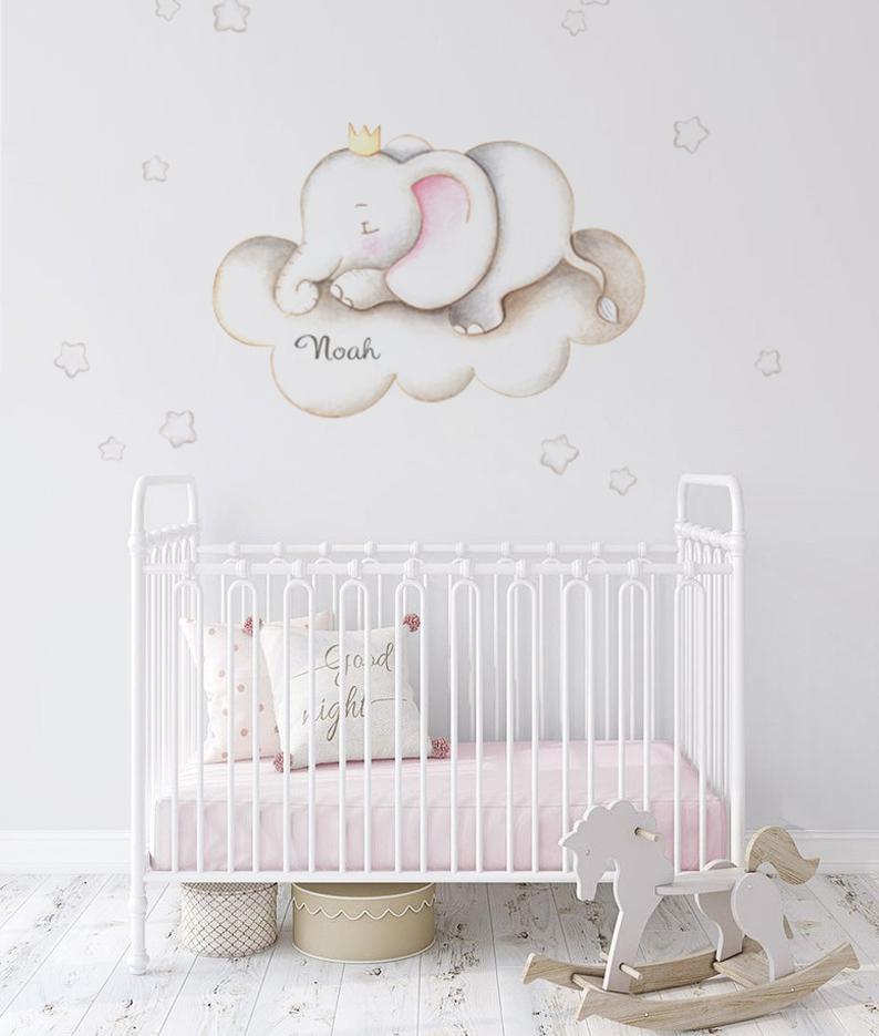 VINILO INFANTIL: Elefante en nube