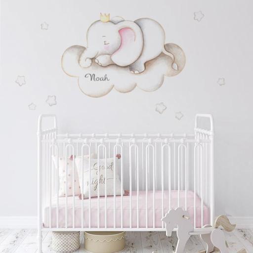 VINILO INFANTIL: Elefante en nube [0]
