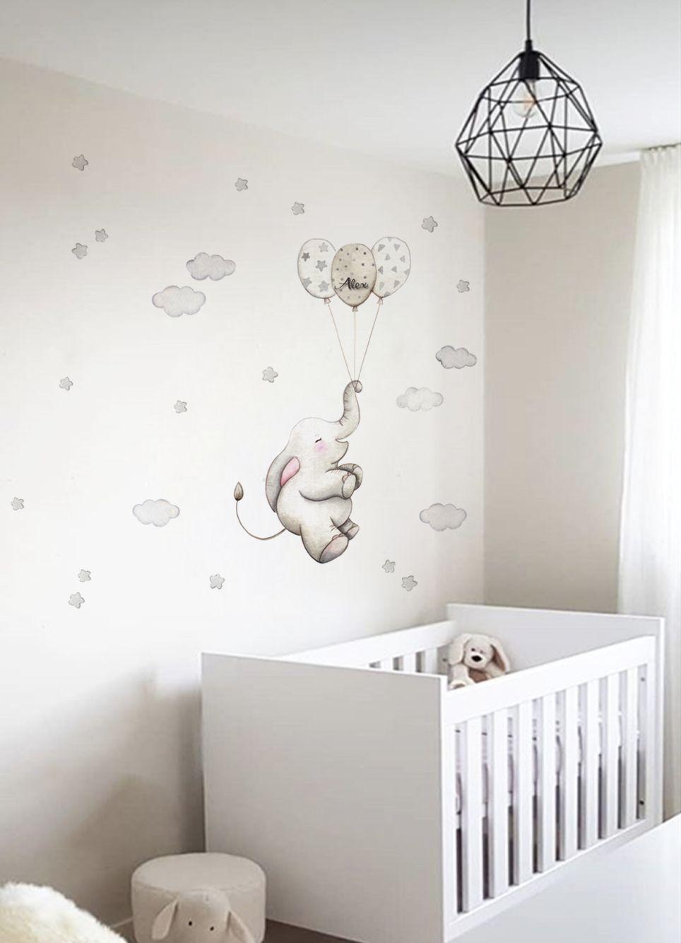 VINILO INFANTIL: Elefante con globos grises