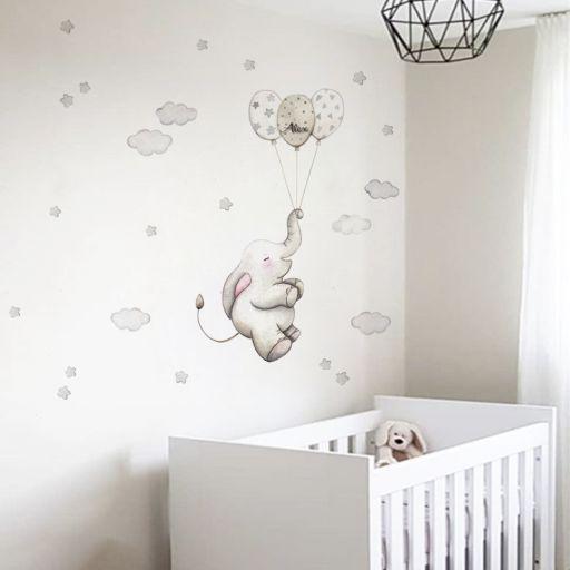 VINILO INFANTIL: Elefante con globos grises [0]