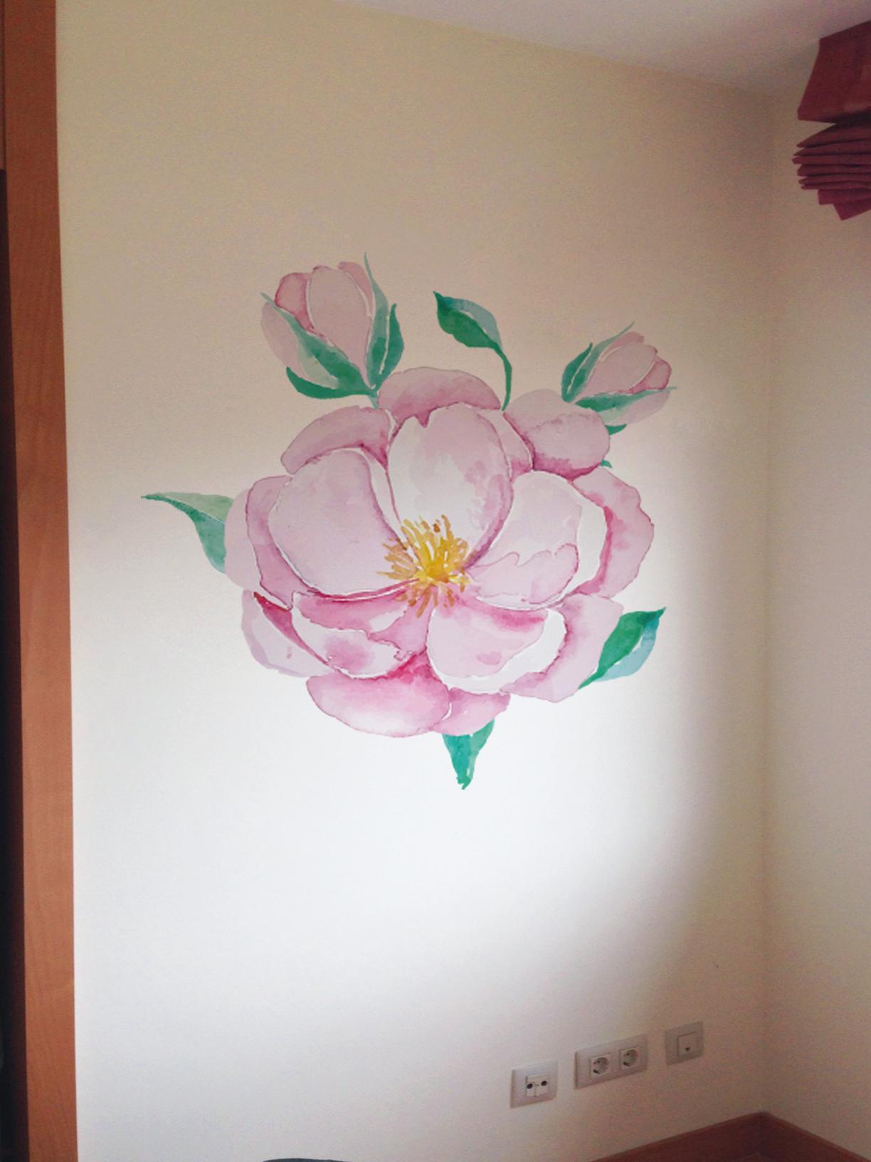 VINILO INFANTIL: Flor rosa grande