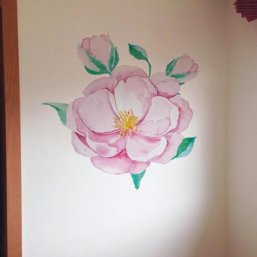 VINILO INFANTIL: Flor rosa grande [0]