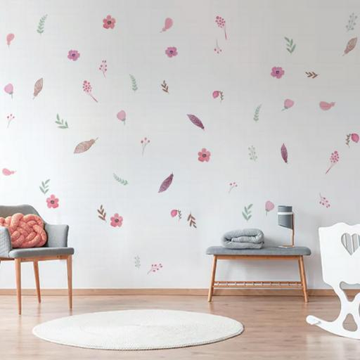 VINILO INFANTIL: flores y hojas estilo boho