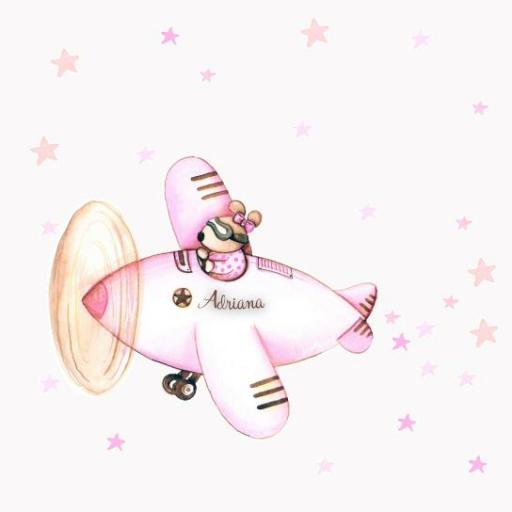 VINILO INFANTIL: Conejita en avión rosa [1]