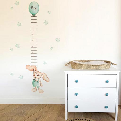 VINILO INFANTIL: Medidor conejito globo mint [1]