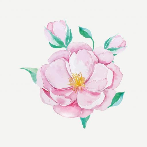 VINILO INFANTIL: Flor rosa grande [2]