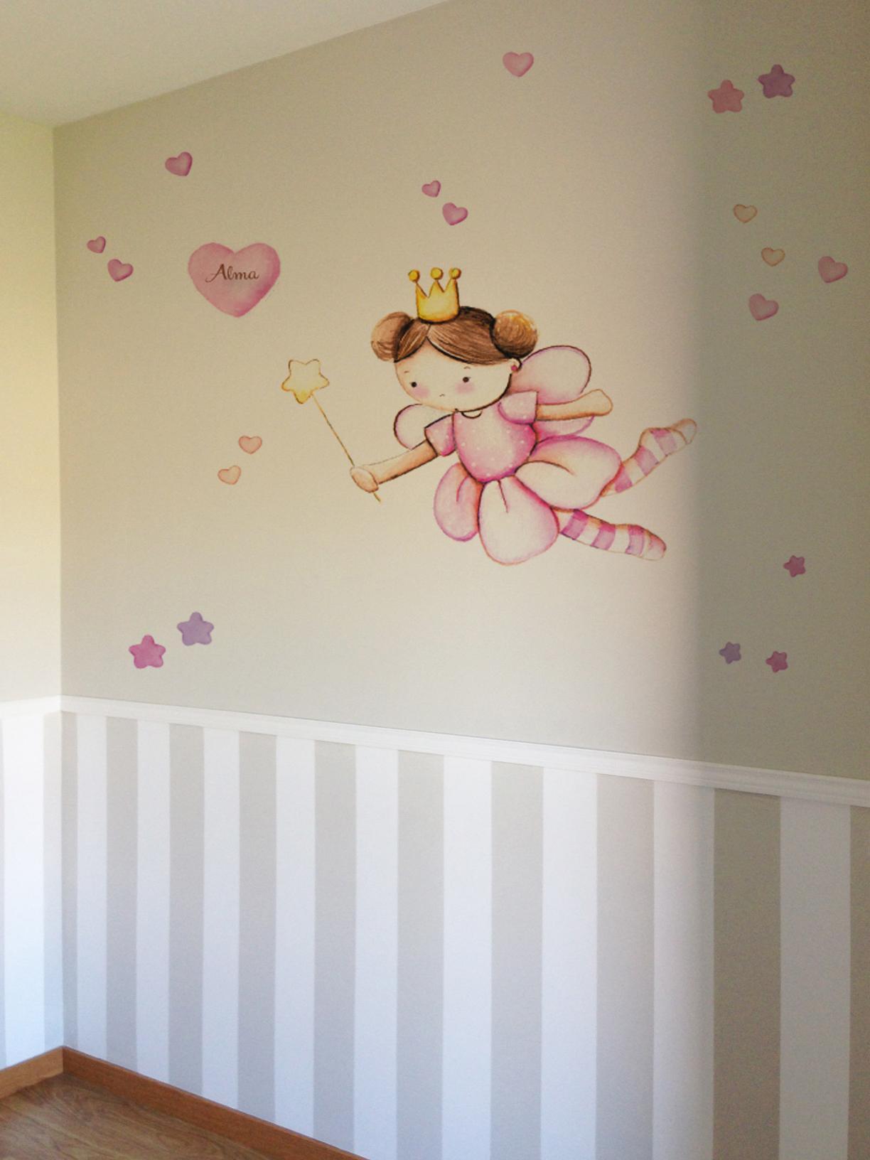 VINILO INFANTIL: hada con corazones