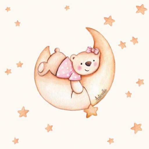 VINILO INFANTIL: Osita en luna y estrellas [1]