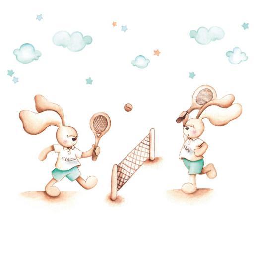 VINILO INFANTIL: Conejitos jugando al tenis [2]