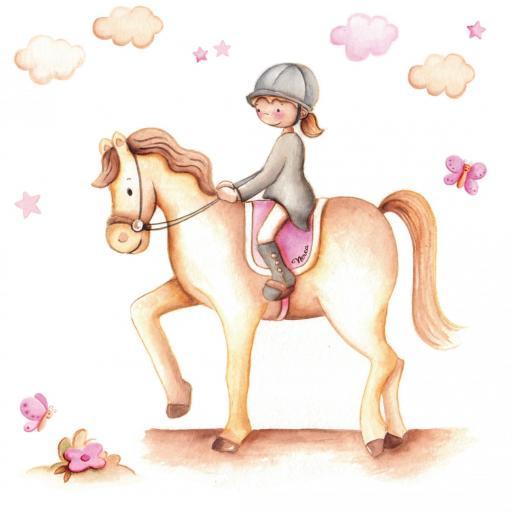 VINILO INFANTIL: Niña en caballo [1]