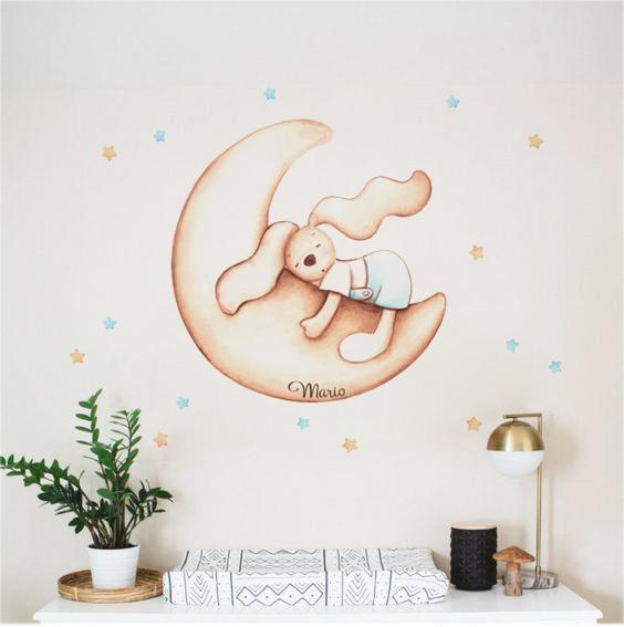 VINILO INFANTIL: Conejo en luna