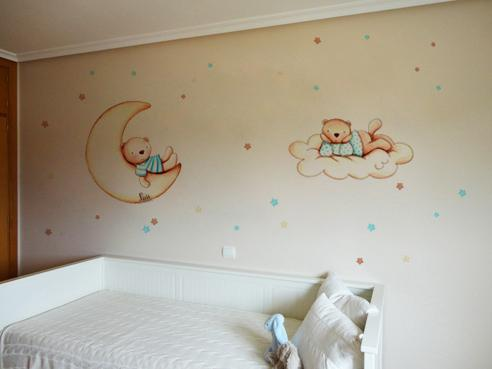 VINILO INFANTIL: Ositos con luna, nube y estrellas