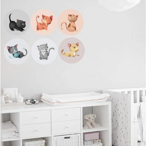 VINILO INFANTIL: 6 vinilos redondos de gatitos [0]