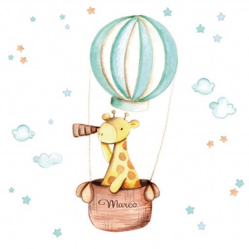 VINILO INFANTIL: Girafa en globo [2]