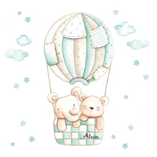 VINILO INFANTIL: Elefante y Osito en globo mint [3]