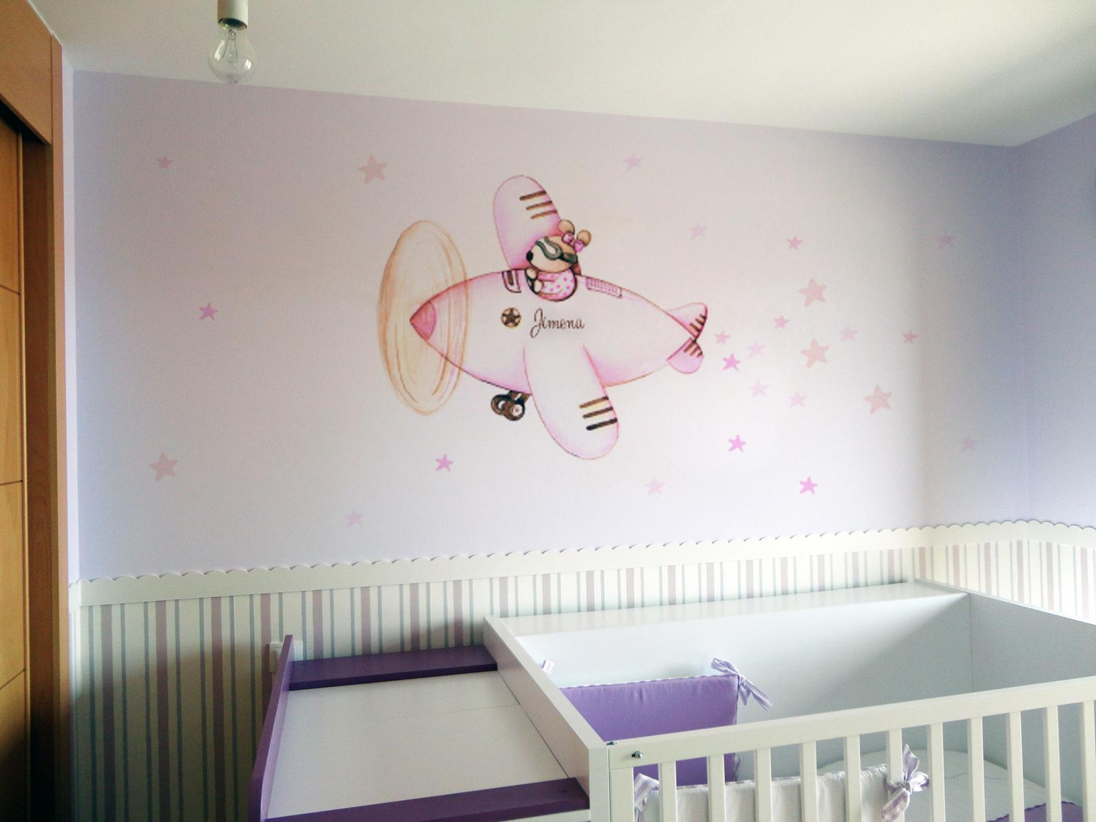 VINILO INFANTIL: Conejita en avión rosa
