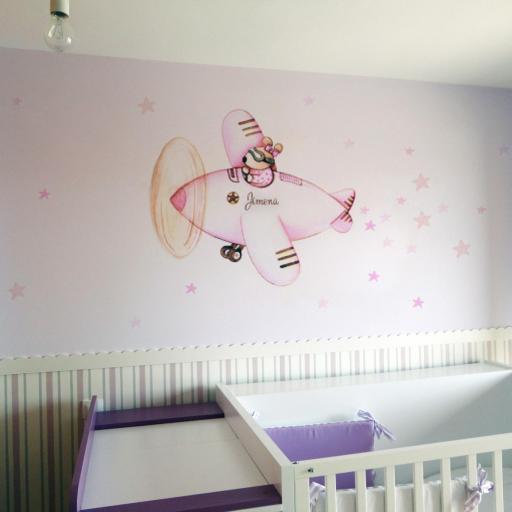 VINILO INFANTIL: Conejita en avión rosa [0]