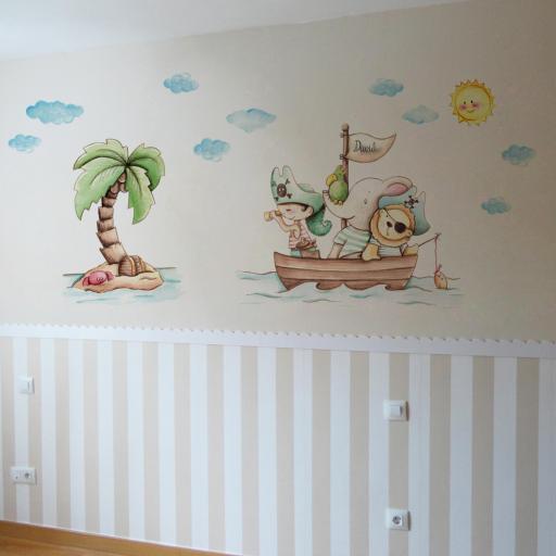 VINILO INFANTIL: Animales piratas con palmera