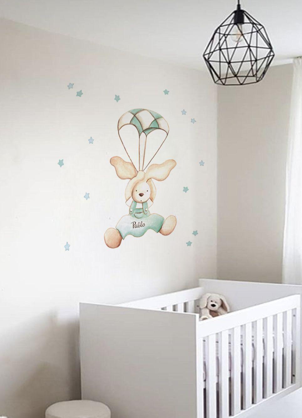 VINILO INFANTIL: Conejo con paracaídas
