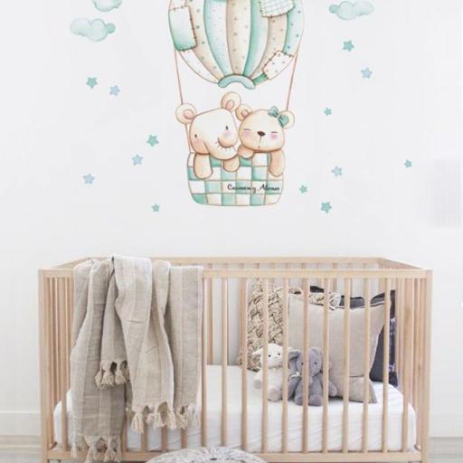 VINILO INFANTIL: Elefante y Osito en globo mint [1]