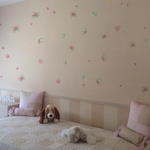 VINILO INFANTIL: mariposas rosa y mint [2]