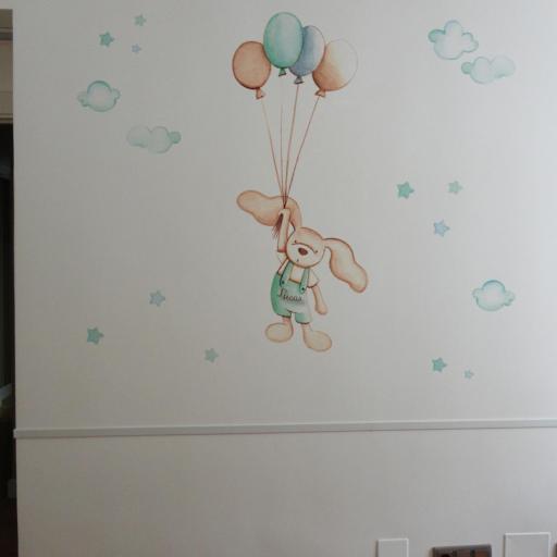 VINILO INFANTIL: Conejito con globos [1]