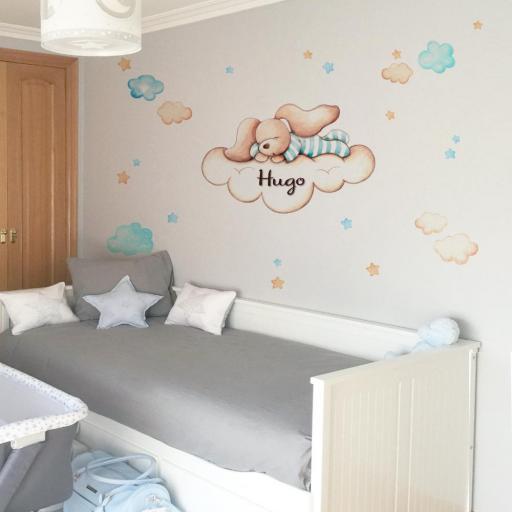 VINILO INFANTIL: Conejito dormido en nube