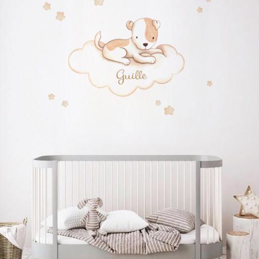 VINILO INFANTIL: Perrito con manchas en nube